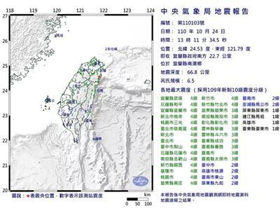 震央花蓮規模6.5 全臺有感大地震